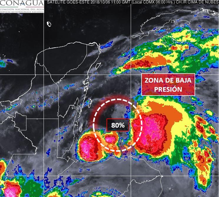 Se hacen mayores las probabilidades de huracán en la Península de Yucatan y Qroo