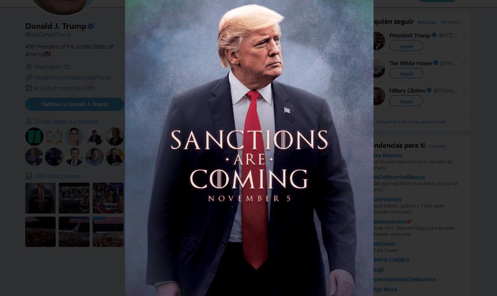 Como si fuera estreno de película, Trump anuncia sanciones a Irán