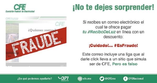¿Recibiste un correo de CFE? Puede ser ciberfraude