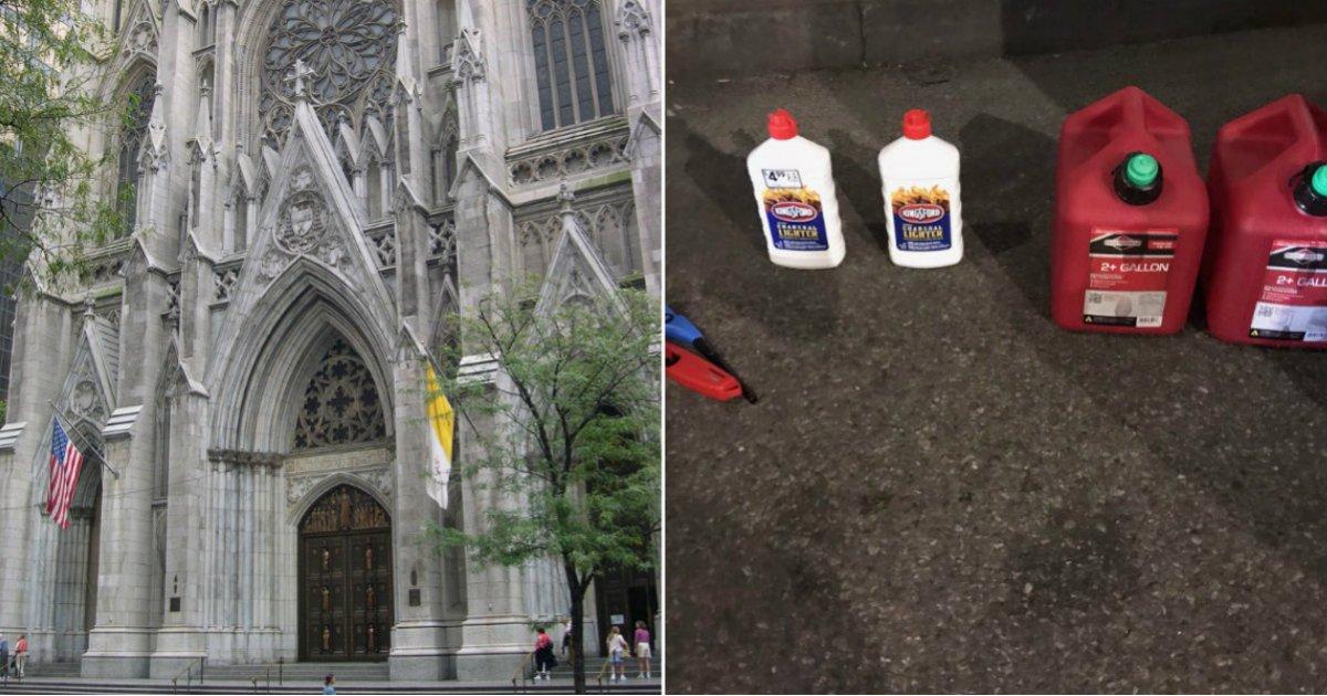 Detienen a hombre en catedral de NY con botes de gasolina