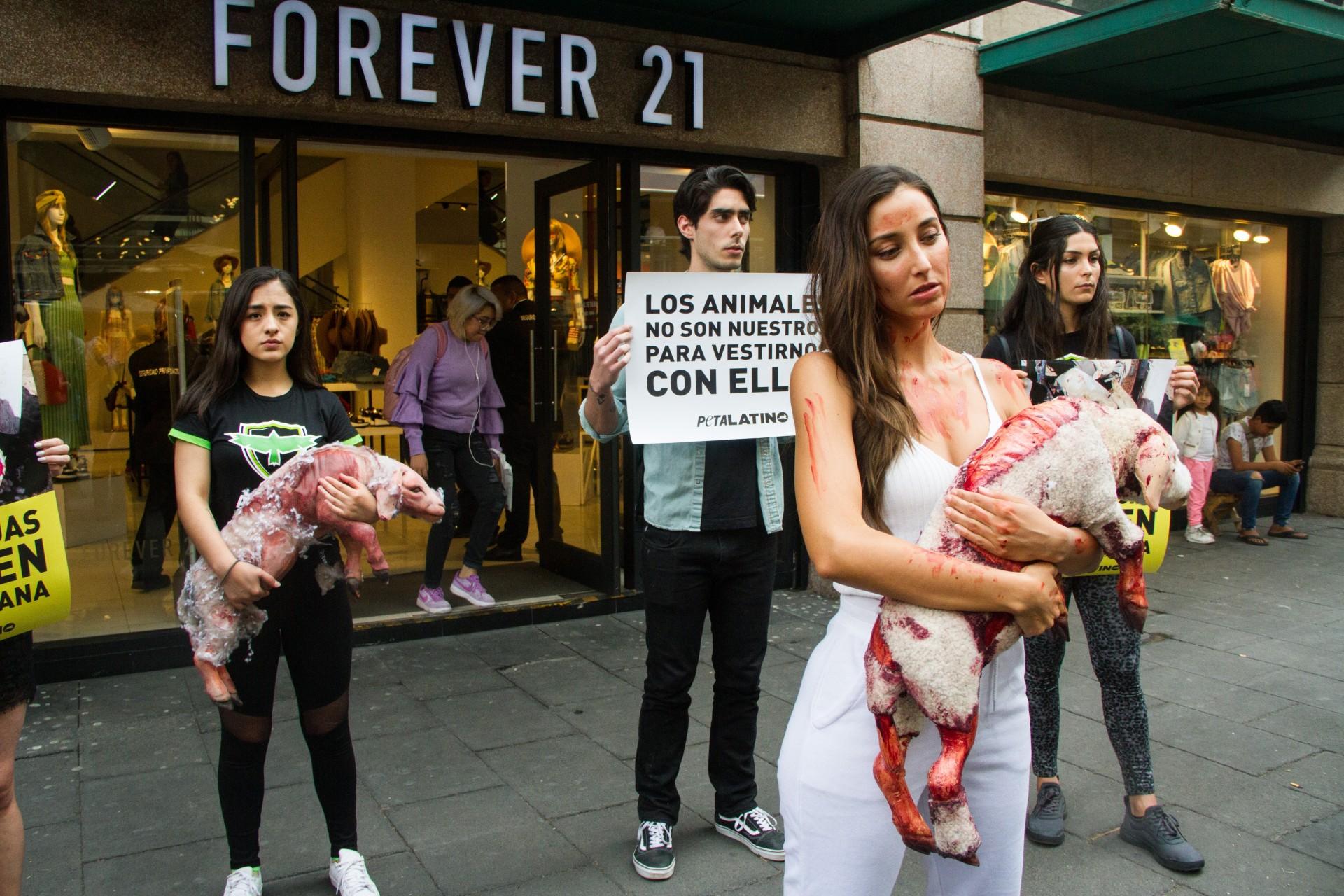 Protesta Sofía Sisniega frente a tienda contra crueldad animal