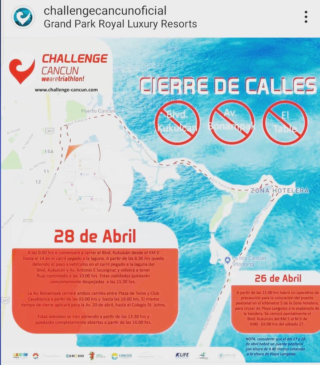Habrá cierre de vialidades Challenge Cancún