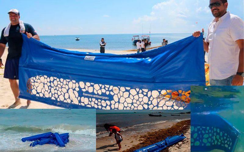 Barreras frágiles contienen sargazo en Puerto Morelos