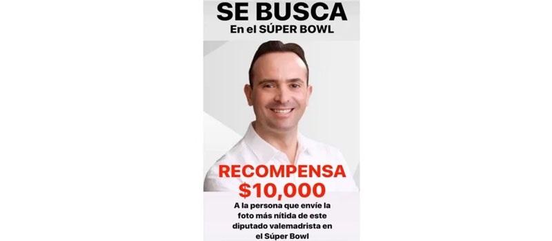 Exdiputada, ofreció 10 mil pesos por la fotografía de Carlos de la Fuente Flores en el Súper Bowl